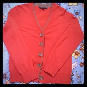 Boden Cotton Blend Red Brown Librarian Cardigan